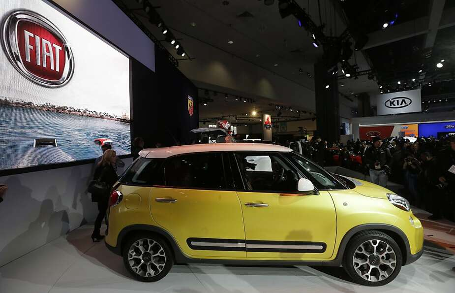 The Fiat 500L is shown at the LA Auto Show in Los Angeles, Wednesday, Nov. 28, 2012. The annual Los