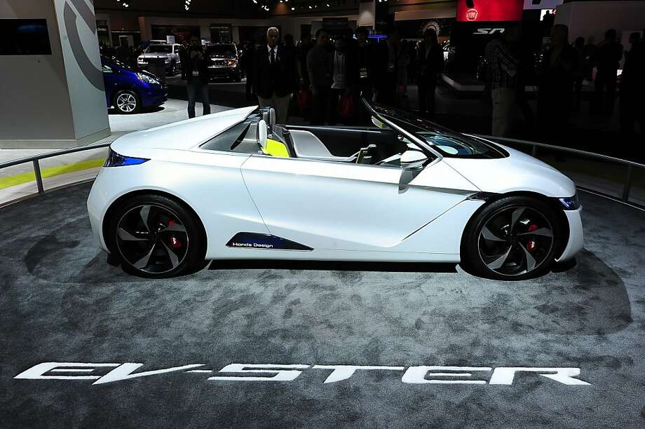 The Honda EV-STER Small Sports Car concept is on display at the Los Angeles Auto Show in Los Angeles, California on media preview day, November 28, 2012.   The LA Auto Show will open to the public on November 30 and runs through December 9. Photo: Robyn Beck, AFP/Getty Images