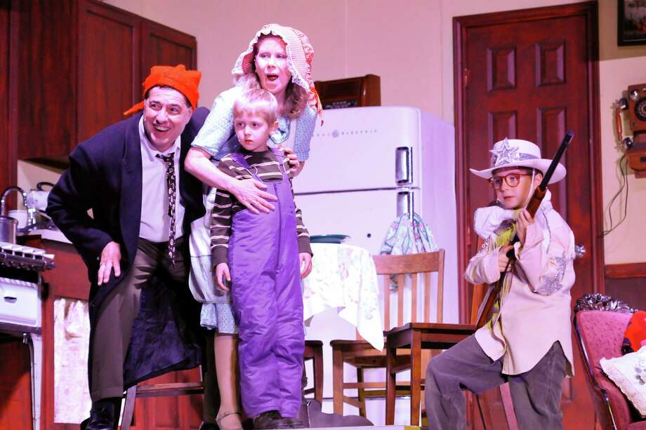 "As the Parkers, Bob Galindo (from left), Theresa Bishop, Jack Dullnig and Cutter Grant re-create the holiday favorite ""A Christmas Story"" at  Woodlawn Theatre.