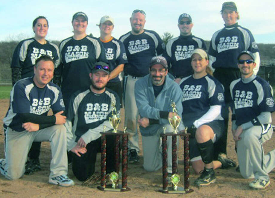 Players from B & B Mason pose Nov. 18 with their New Milford Parks & Recreation coed softball championship trophy. Contributing to the title-game victory were, from left to right, front row, Joe Chemero, Josh McSherry, John Bernardi, Stephanie Dumas and Nick Bernardi; back row, Kathleen Garrity, Sue DeBary, Colleen Gregory,. Jason Maxwell, Derrick Ruotolo and Brenda Bartram. Among those absent were Jen Middleton, Courtney Kennedy and Dan Fleet. Nov. 18, 2012 Photo: Norm Cummings