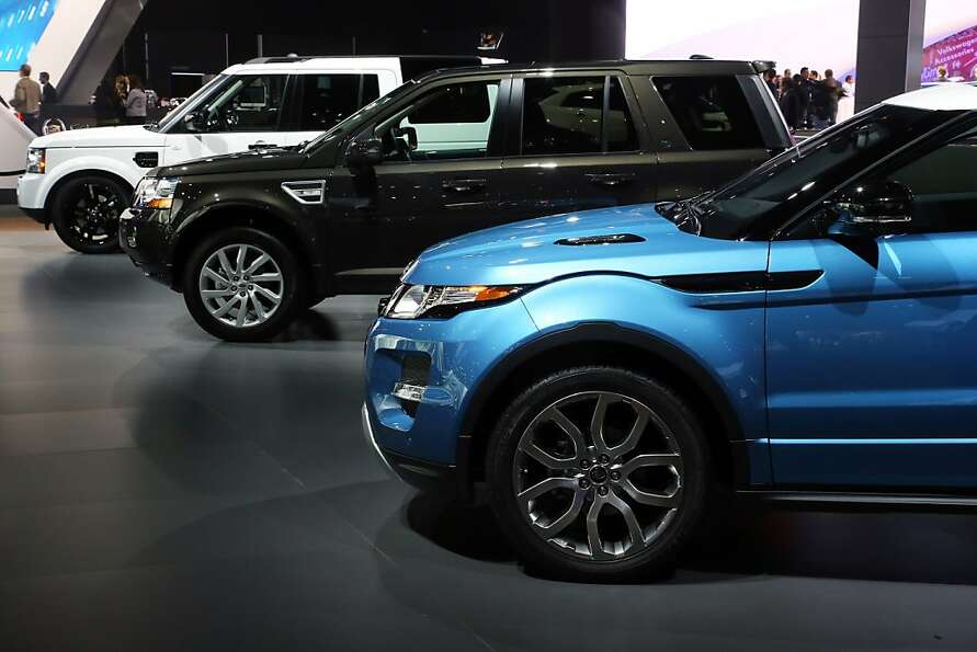 LOS ANGELES, CA - NOVEMBER 28:  Land Rovers model line-up on display at the Jaguar Land Rover stand