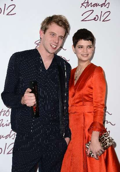 Jonathan Anderson (L) of JW Anderson, winner of the Emerging Talent award, Ready-To-Wear, poses with