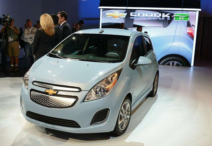 The 2013 Chevrolet Spark EV all electrical car is unveiled at the Los Angeles Auto Show in Los Angel