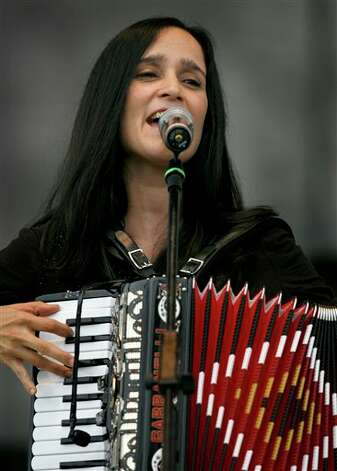 Mexican musician Julieta Venegas performs during a music festival in support of the student movement #YoSoy132, or I am 132 in Mexico City, Saturday June 16, 2012. #YoSoy132 is the name of a university movement that rejects the possible return of the old ruling Institutional Revolutionary Party (PRI) ahead of Mexico's July 1 presidential election. (AP Photo/Marco Ugarte) Photo: Marco Ugarte, AP / AP