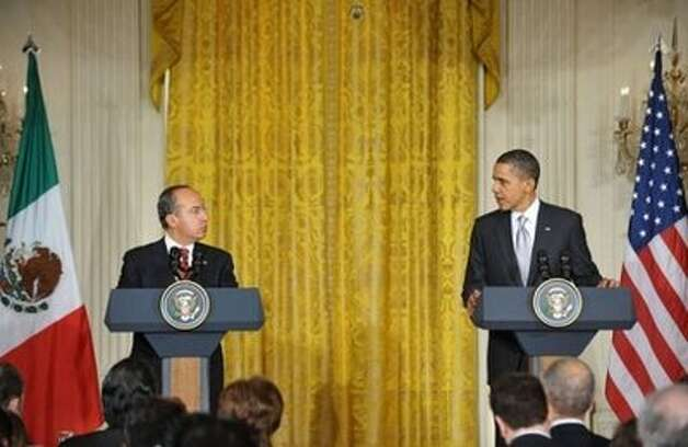 Presidents Calderon and Obama answer questions about the long-running dispute between their nations over cross-border truck traffic. (AP)