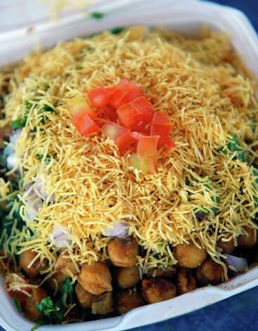 Samosa chaat from India Chaat House is seen Tuesday Nov. 27, 2012. Photo: William Luther, San Antonio Express-News / © 2012 San Antonio Express-News