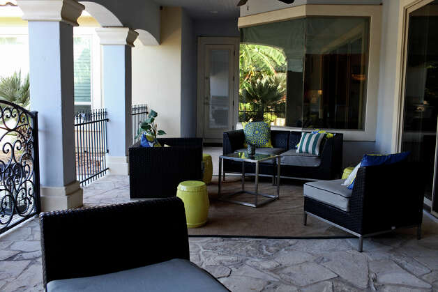 An outdoor seating area behind the home of Reema and Naveen Kella in San Antonio on Wednesday, Nov. 28, 2012. Photo: Lisa Krantz, San Antonio Express-News / © 2012 San Antonio Express-News