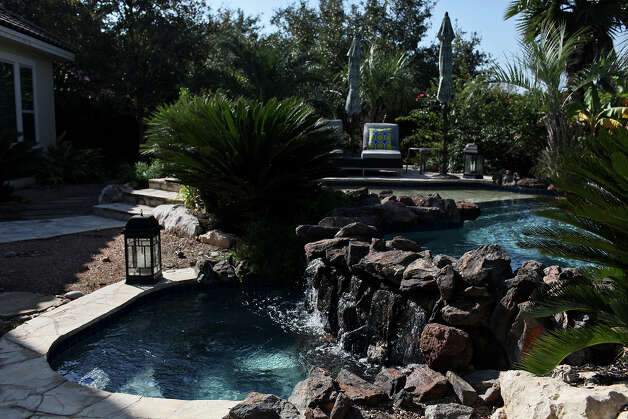 The pool behind the home of Reema and Naveen Kella in San Antonio on Wednesday, Nov. 28, 2012. Photo: Lisa Krantz, San Antonio Express-News / © 2012 San Antonio Express-News
