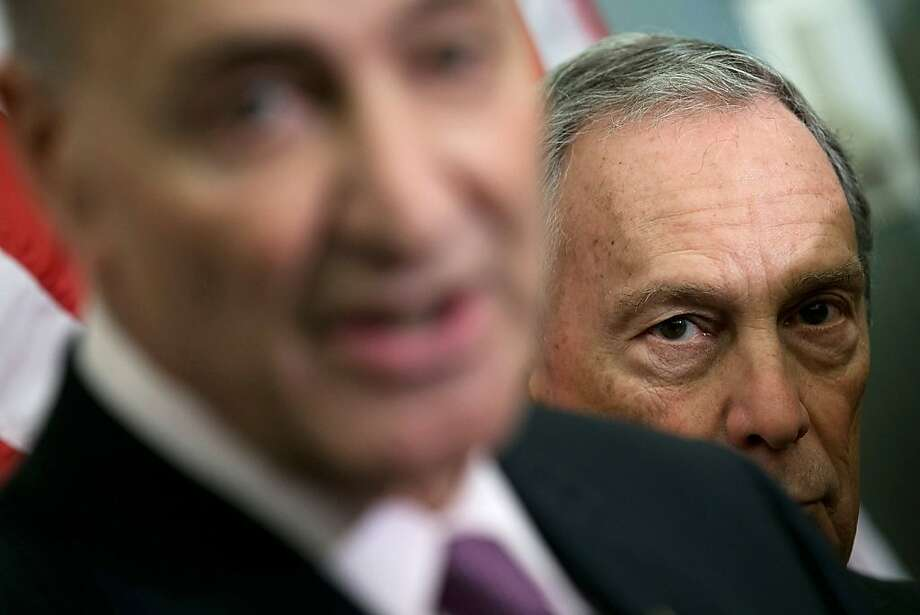 WASHINGTON, DC - NOVEMBER 28:  New York City Mayor Michael Bloomberg (R) holds a press conference with U.S. U.S. Sen. Charles Schumer (D-NY) (L) at the U.S. Capitol November 28, 2012 in Washington, DC. Bloomberg and the two senators from New York met to discuss New York City's Hurricane Sandy Federal Aid Request.  (Photo by Win McNamee/Getty Images)  *** BESTPIX *** Photo: Win McNamee, Getty Images