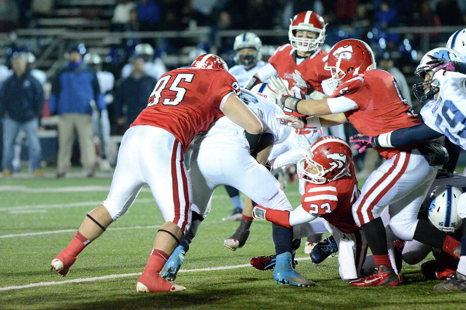 Masuk High School challenges Middletown High School in the Class L state varsity football quarterfinal game at Bunnell High School in Stratford, CT on Nov. 28, 2012. Photo: Shelley Cryan / Shelley Cryan for the CT Post/ freelance Shelley Cryan