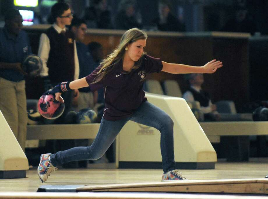 Janelle Irwin, a junior at Bishop Gibbons, is competing on the boys' bowling team because there is no girls' team at the school at the Playdium in Albany, NY Wednesday Nov. 28, 2012. (Michael P. Farrell/Times Union) Photo: Michael P. Farrell