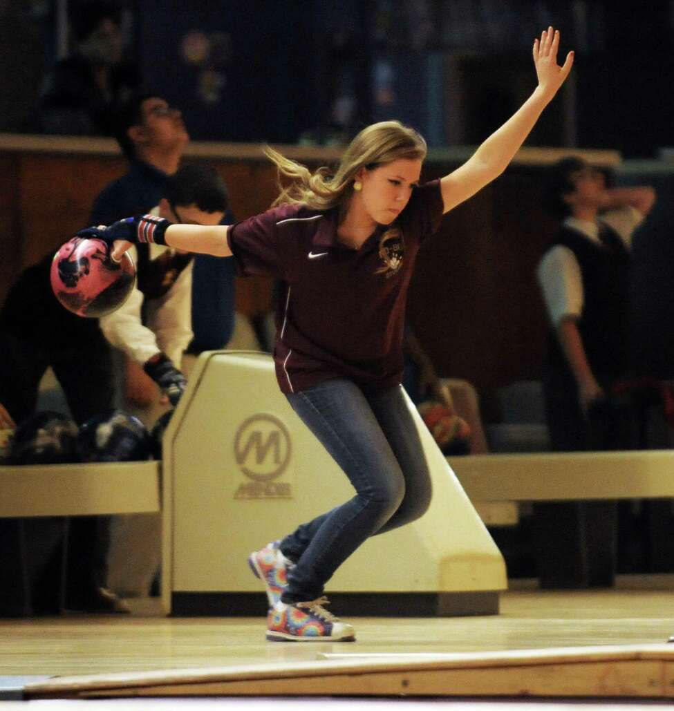 Janelle Irwin, a junior at Bishop Gibbons, is competing on the boys' bowling team because there is no girls' team at the school at the Playdium in Albany, NY Wednesday Nov. 28, 2012. (Michael P. Farrell/Times Union)