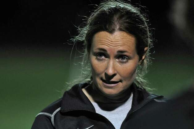 College of Saint Rose women's soccer head coach  Laurie Darling Gutheil talks to her team during practice as they prepare for their NCAA tournament game this Thursday in Florida, on Monday evening Nov. 28, 2011 in Albany, NY. (Philip Kamrass / Times Union ) Photo: Philip Kamrass / 10015552A