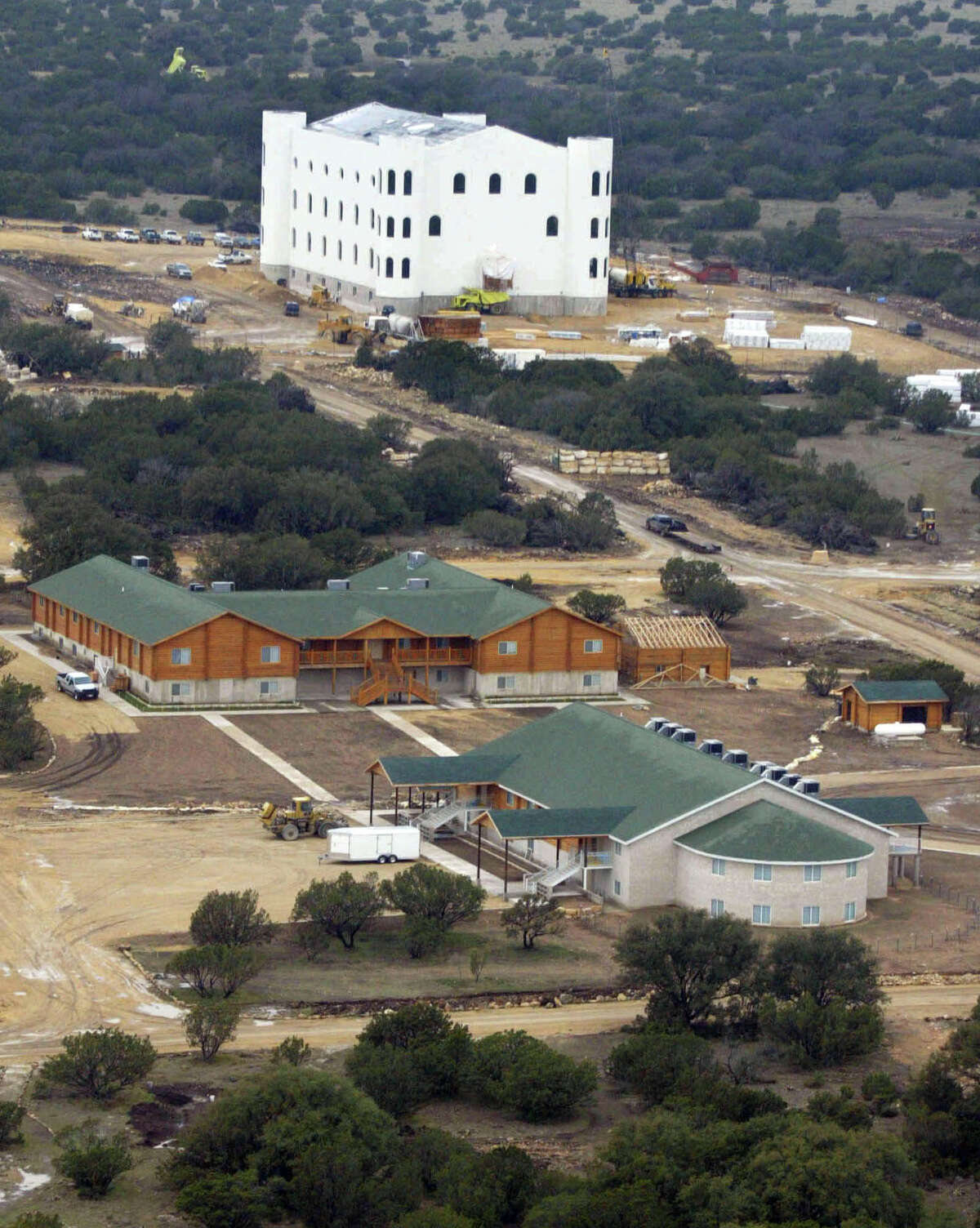 An aerial view of one of the homes on the Yearning for Zion (YFZ) compound owned by the Fundamentalist Church of Jesus Christ of Latter Day Saints April 8, 2008 in Eldorado, Texas. Some 416 children were removed from the polygamous sect's West Texas ranch by officials last week after allegations of abuse were reported. The children were placed in temporary custody of the state.