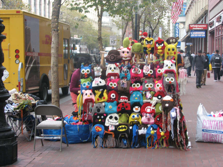 Market Street, Nov. 26, 2012; display of 'handmade hats'  (Will Hearst)