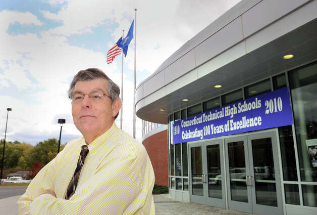 "Jerry Salese, principal of Henry Abbott Tech, stands in front of the school. Connecticut technical high schools are celebrating ""100 years of excellence."" 2010 file photo Photo: Carol Kaliff, ST / The News-Times"