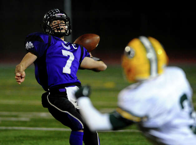 CIAC Class S boys football quarterfinal action between North Branford and Trinity Catholic in Guilford, Conn. on Wednesday November 28, 2012. Photo: Christian Abraham / Connecticut Post