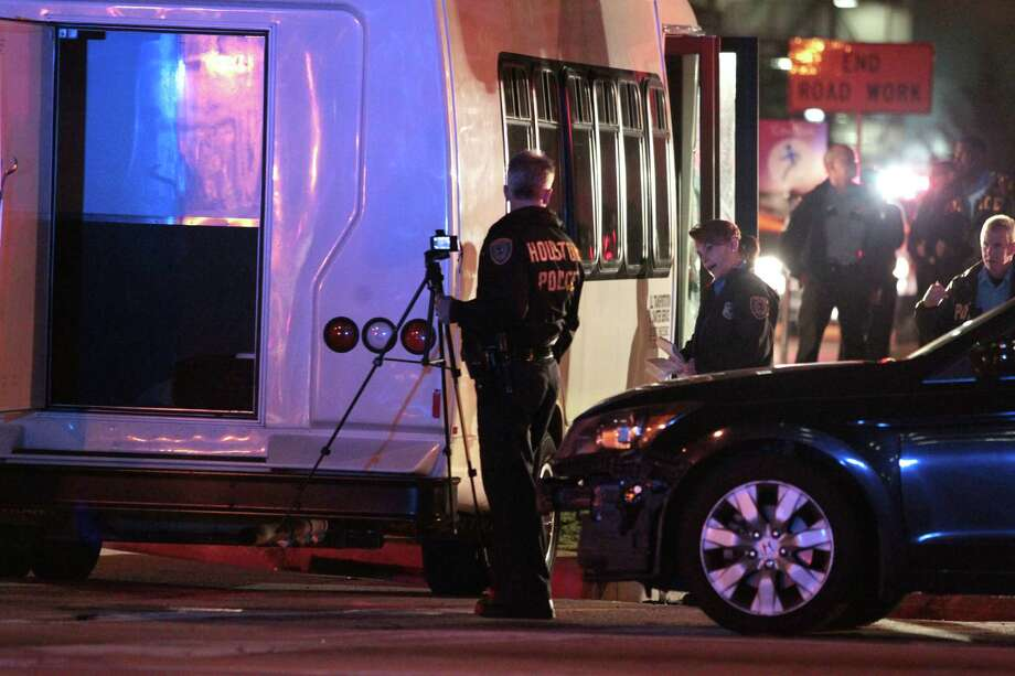 Houston police investigate an accident Wednesday at the Texas Medical Center that left a pedestrian dead. Photo: Billy Smith II, Staff
