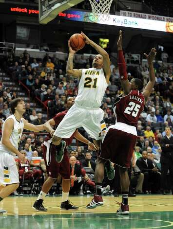 Siena's Davis Martens goes to the basket during their game against the University of Massachusetts at the Times Union Center in Albany, NY Wednesday Nov. 28, 2012. (Michael P. Farrell/Times Union) Photo: Michael P. Farrell