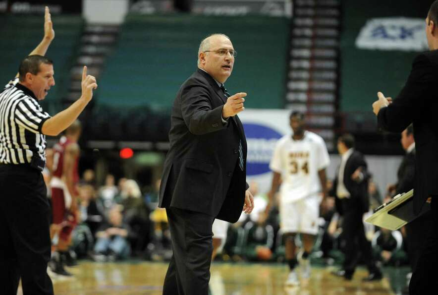 Siena's head coach Mitch Buonaguro during their game against the University of Massachusetts at the