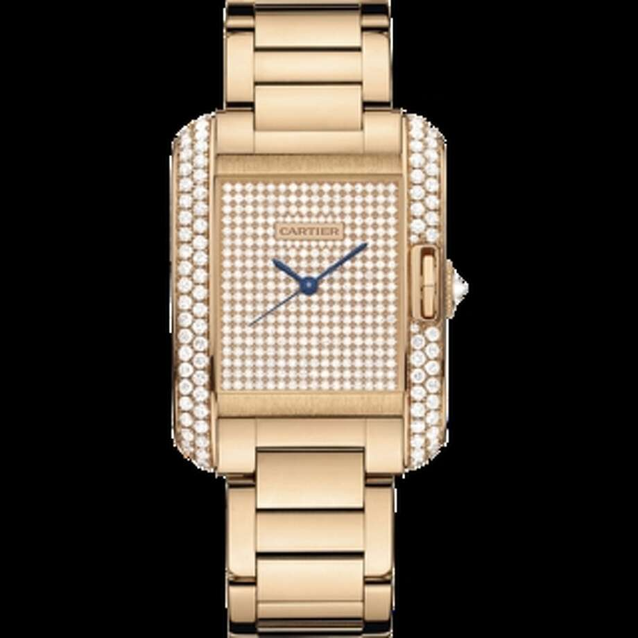 Cartier Tank Anglaise diamond-encrusted, pink gold watch, $47,800 at Northeastern Fine Jewelry in Albany, Schenectady and Manchester, Vt.