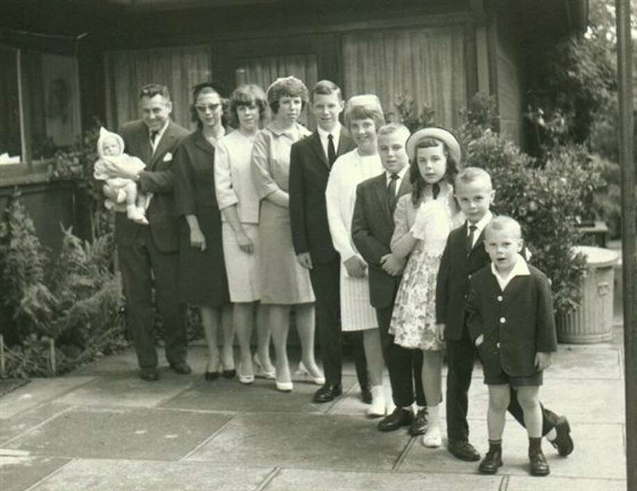 Then: Jerry and Rosemary Thomas of Berkeley with their 9 children in chronological order; Jerrie, Nicki, Peter, Kathie, Pat, Michelle, Michael, Sean, and baby Jeff (1963). (jerbear8)