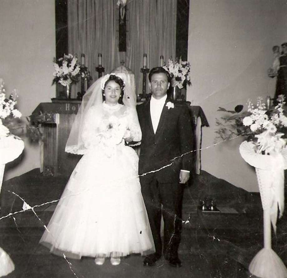 Then: John & Mary Lopez, January 20, 1957, Holy Family Church, Kingsburg, Calif. (t-lo)