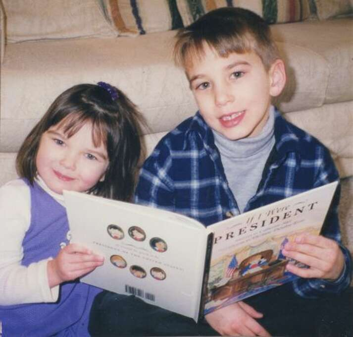 In 1999, Andrew Stier, 7, and his sister Julia, 3, pose with their mother Catherine Stier s first published picture book, If I Were President. The book s dedication reads: To every child who aspires to the highest office in the land, and to the possible future presidents in my home, Andrew and Julia. The photo is such a family favorite, they commissioned San Antonio artist Margi Fisher to re-create it in watercolors. (Catherine Stier / MySanAntonio.com)