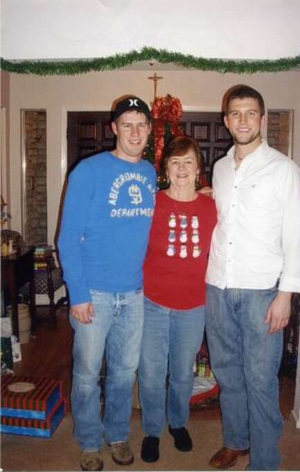What started as fun taking an Xmas picture with Gramma Gail Sims and cousin grandsons Patrick Sims and Michael Carlisle soon became a yearly tradition. In this photo from 2011, both boys are 21 now and in college, but they still continue the tradition of Xmas pictures at their grandmothers home in Bulverde. Patrick is now 6 and Michael is 6 3 , so it s doubtful anymore growth will be noticed!  (Gail Sims / MySanAntonio.com)