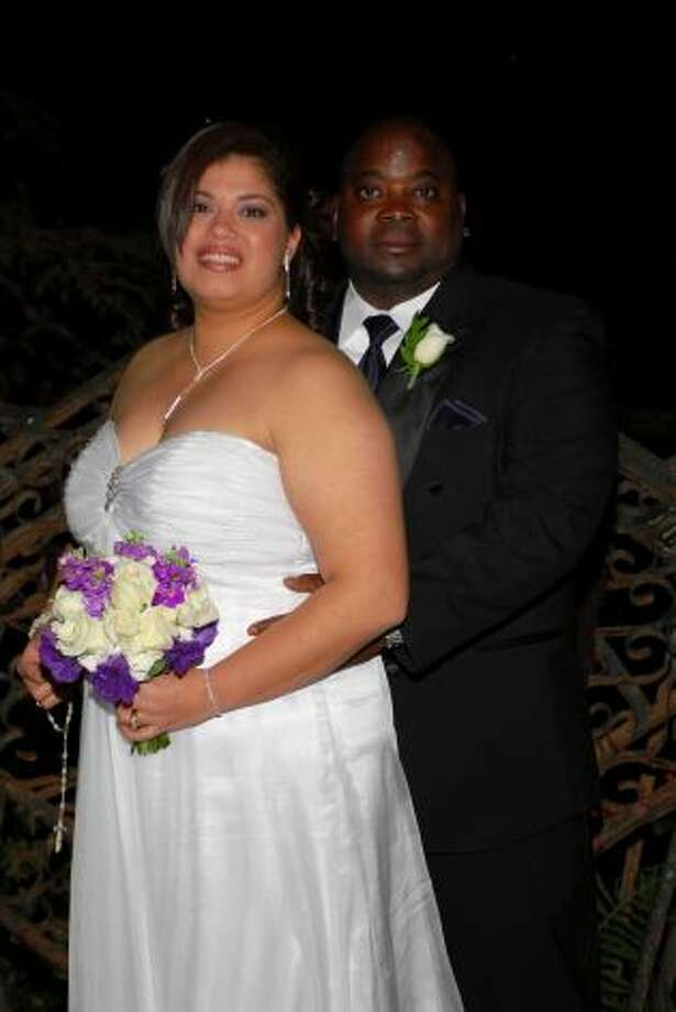 This photo of my husband, Johnnie Griffin, and me, Tamara Griffin was taken at our wedding on 11/27/10 on the San Antonio Riverwalk on Marriage Island. We were not a couple in high school, although Johnnie wanted to be, so who knew 20 years later, we'd be happily married? (Tamara Griffin / MySanAntonio.com)