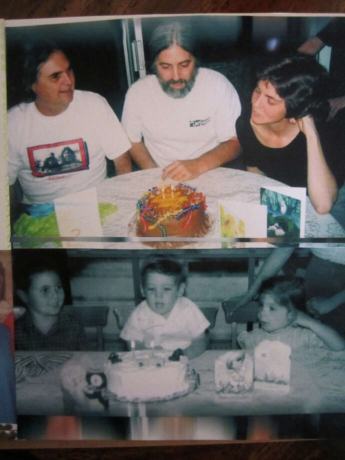Then and now: 50 years apart, from left:  eldest Dave Wallace Jr, baby Sky and mid-kid Debbie...mom Ginny's arms are visible in both, holding Debbie's chair, both photos by Dave Sr, in 1955 and 2005, from Sky's 2nd birthday and his 52nd.