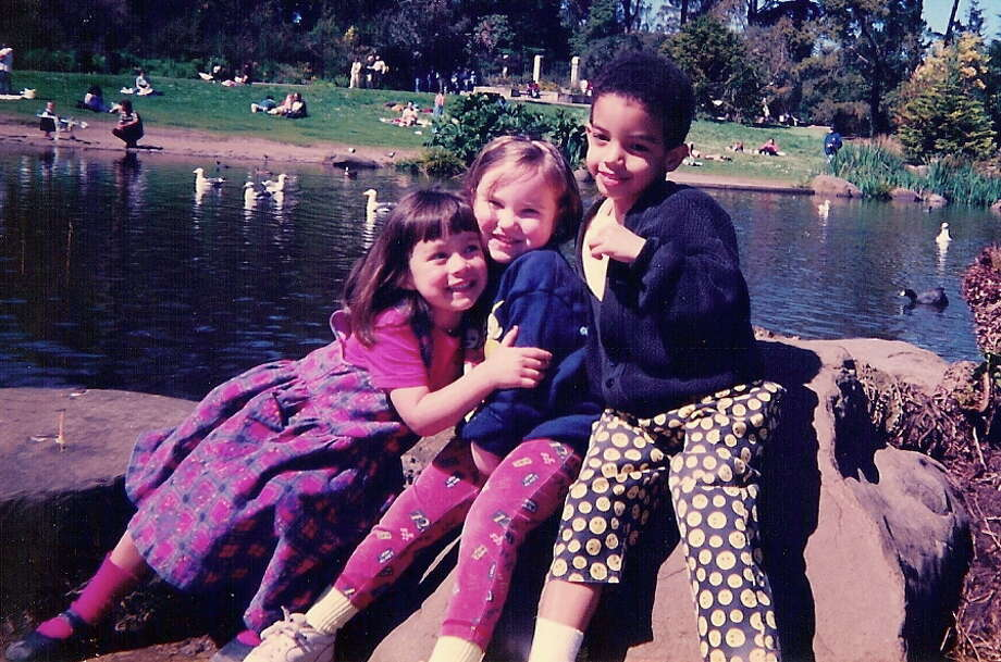 Then: These pictures are of Kyra Williams, Helen Lee and Julian Gaskins in Golden Gate Park. It was the summer of 1998 when the kids were about four years old. The kids went to the same daycare which is how the three families became friends.
