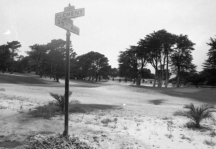Clement St. and 35th Ave. in San Francisco, with Lincoln Park Golf Course in the distance. This was later in the day, when the sun came out and a lot of the snow had melted. Photo: Clem Albers, The Chronicle / ONLINE_YES