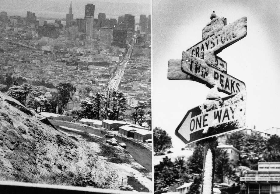 Photos of San Francisco taken by Joseph J. Rosenthal near Twin Peaks after one of the greatest snowfalls in city history. The photo featuring the Greystone and Twin Peaks sign is including in the blog post as well. Photo: Joseph J. Rosenthal, The Chronicle / ONLINE_YES