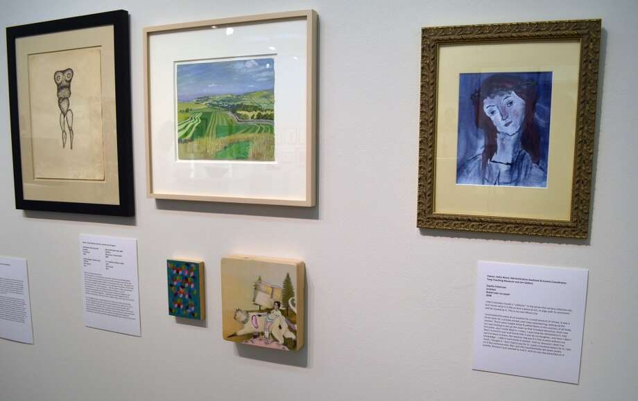 Installation view. At left, four works owned by Katie DeGroot. At right, Untitled watercolor by Sophie Patterson, 2008. Owner: Kelly Ward (Administrative Assistant and Events Coordinator, Tang teaching Museum.)  (Courtesy Skidmore College)