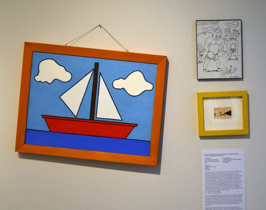 Installation view.  At left, Bert Schuck, Scene from Moby Dick, Oil on canvas with wood frame, 2007; Right, top: Daniel Johnston, As Strange As It Seems, Marker on paper, Circa 1995; Right, bottom: Klaus Lutz, Untitled, Etching, Circa 1990.Owner: Elizabeth Karp (Head Registrar and Collections Manager, Tang Teaching Museum.) (Courtesy Skidmore College)