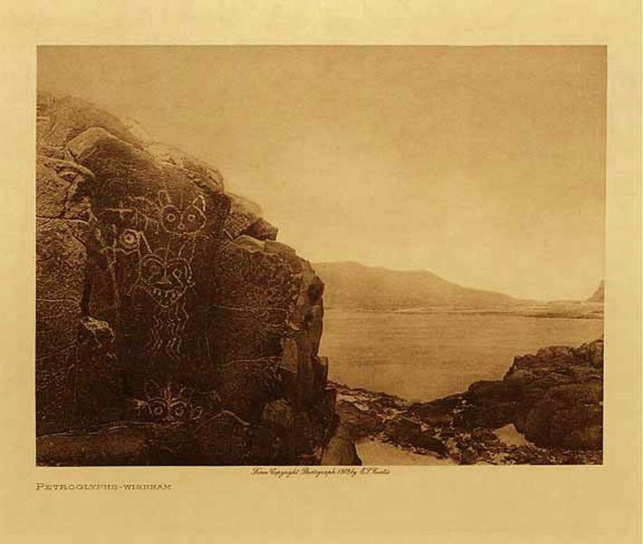 Artist: Edward Curtis; Petroglyphs, Wishram; Sepia-toned photogravure; Circa 1910.Owner: Deb Hall (Associate Professor of Art, Graphic Design.)  (Courtesy Skidmore College)