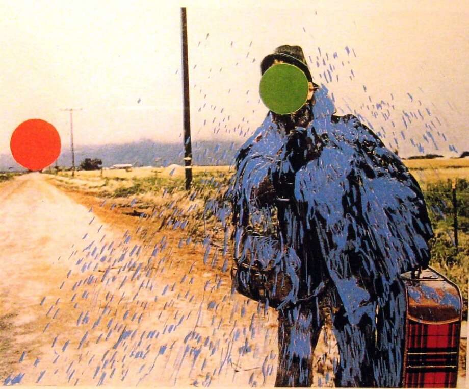 Artist: John Baldessari; Hitchhiker (Splattered Blue); Xerox print, edition # 4 of 100; 1995. Owners: by Katie Hauser (Associate Professor of Art History) and Joel Reed. (Courtesy Skidmore College)