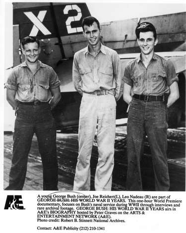 A young George Bush (center), Joe Reichert (L), Leo Nadeau (R) are part of GEORGE BUSH:  HIS WORLD WAR II YEARS.  The one-hour World Premiere documentary, focuses on Bush's naval service during WWII through interviews and rare archival footage.  Hosted by Peter Graves. Photo: ROBERT B. STINNETT NATL ARCHIVES, ARTS & ENTERTAINMENT NETWORK / HANDOUT