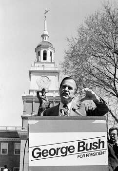 Using Independence Hall as a backdrop, Republican presidential hopeful George Bush addresses supporters and newsmen April 9, 1980  in Philadelphia.    Bush is seeking votes in the April 22 Pennsylvania primary. Photo: Bill Ingraham, AP / AP