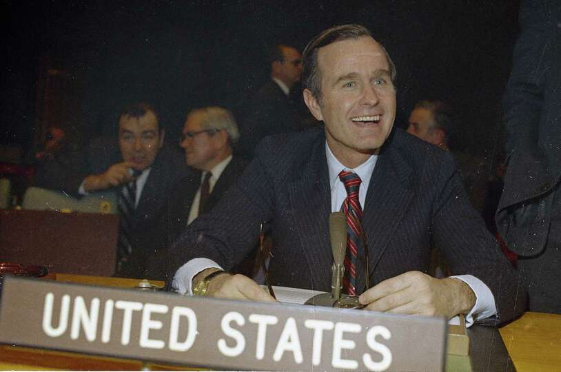 George Bush, U.S. Ambassador to the United Nations is shown at U.N. headquarters in New York in 1971