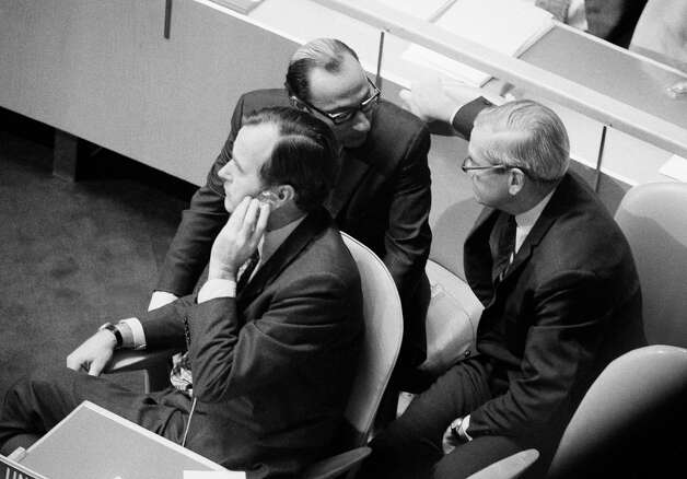 Ambassador George Bush, chief U.S. delegate to United Nations, sits at General  Assembly session in New York October 26, 1971, the day after he lost his battle to keep Nationalist China in the world body. Photo: John Rooney, AP / AP