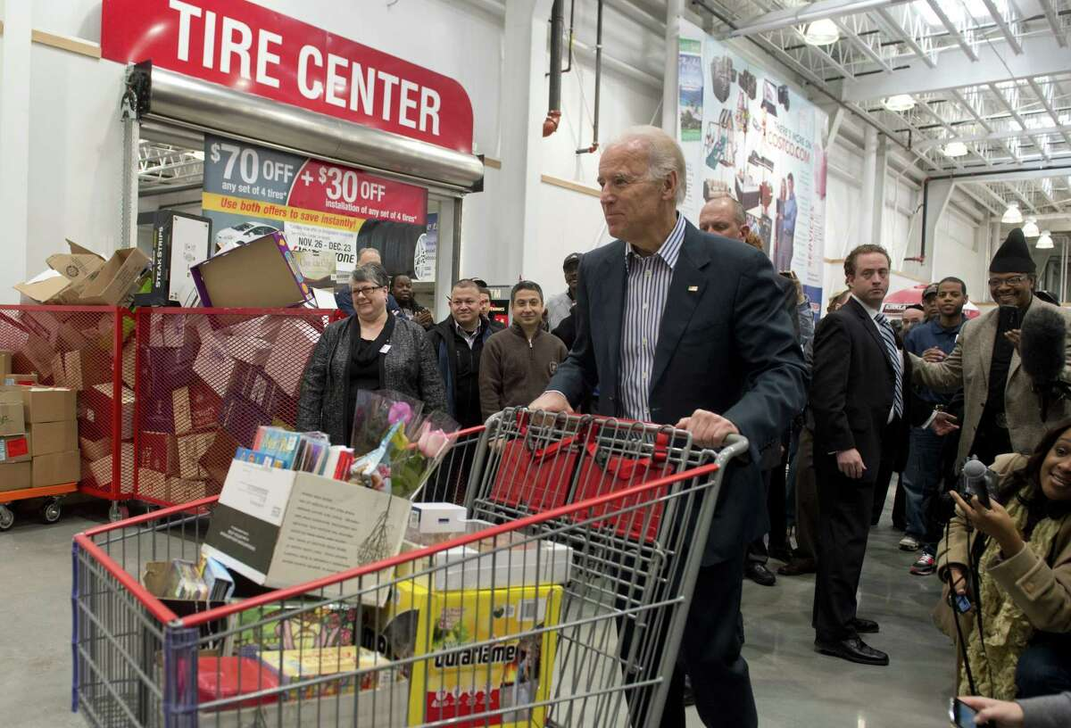 Open the first Washington. D.C., Costco and look who shows up? Vice President Joe Biden shopped, grazed on samples and talked about the need for a middle-class tax cut on Thursday. The Associated Press reported that Biden said consumer confidence is growing, as demonstrated by the huge crowd at the gleaming new store, and said