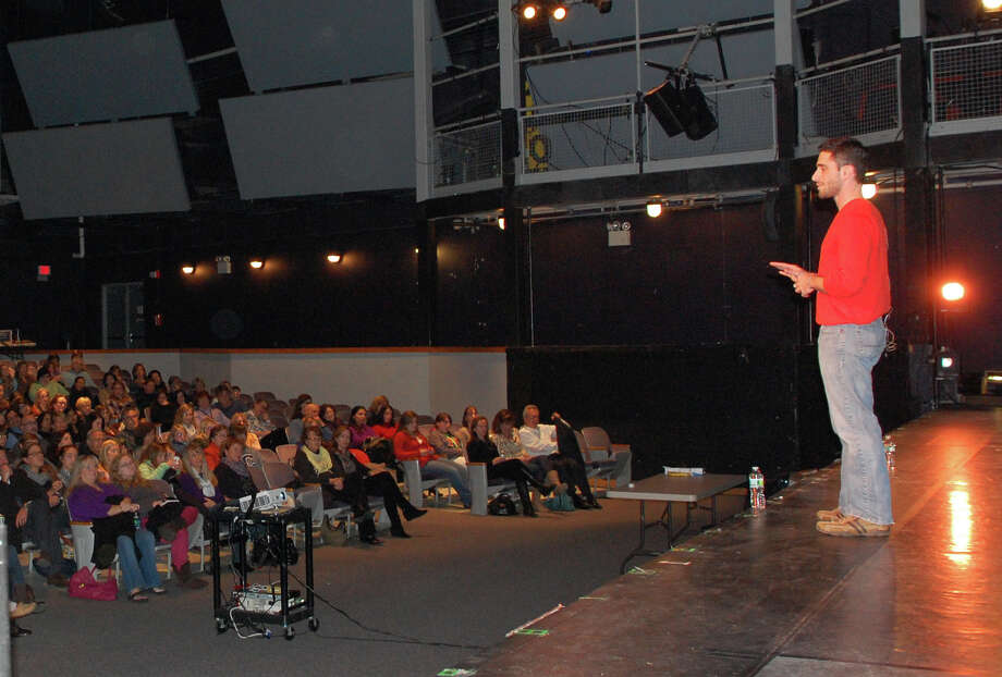 Marc Elliot addressed nearly 500 parents and students Wednesday night in the Staples High School auditorium. Elliot, who has Tourette syndrome and an intestinal disorder, gave an honest and humorous account of his experiences, while promoting a positive message of tolerance.  Westport CT 11/28/12 Photo: Jarret Liotta / Westport News contributed