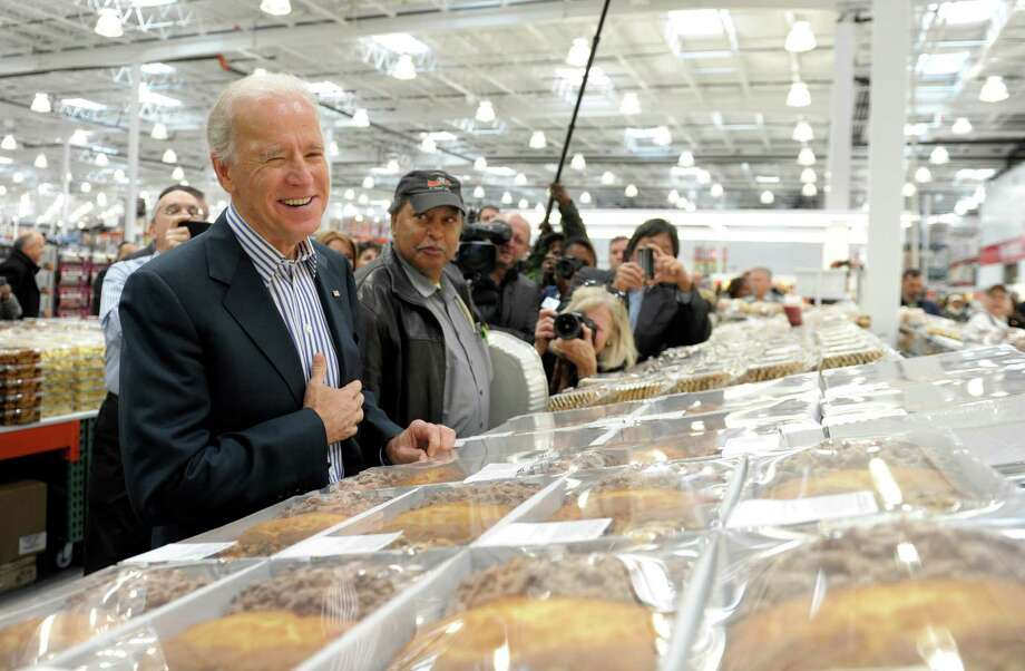 The bakery employees asked him if he wanted a sample. Being vice president does have its perks. (AP Photo/Susan Walsh) Photo: Ap/getty