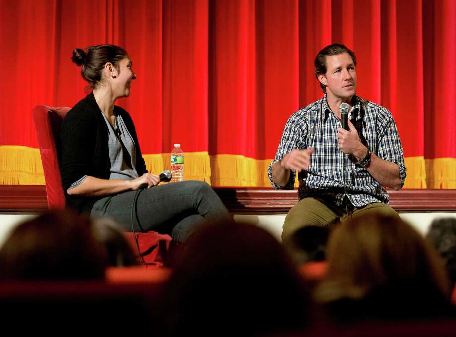 "Filmmaker/actor Ed Burns answers questions about his new film ""The Fitzgerald Family Christmas""to an audience who just viewed his film at the Avon Theatre, Stamford CT on Wednesday November 28th, 2012. Moderating the event was Avon Theatre director of communications, Bridget Stokes. Photo: Mark Conrad / Stamford Advocate Freelance"