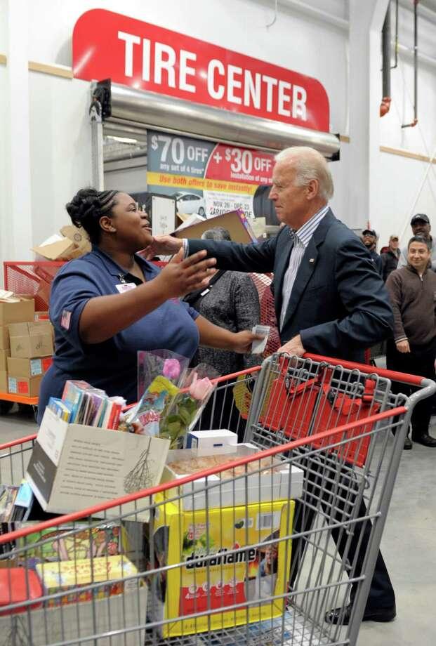 Biden went in for a hug with Stewart. (AP Photo/Susan Walsh) Photo: Ap/getty