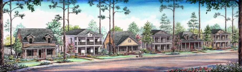 A rendering of single family homes by Sullivan Brothers that will found within the residential community of Harper Woods in Springwoods Village. (Sullivan Brothers)