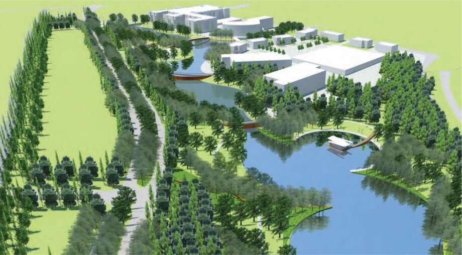 A rendering of the Town Lake Park corridor, which will serve the employment and Town Center districts of Springwoods Village. (CDC Houston)