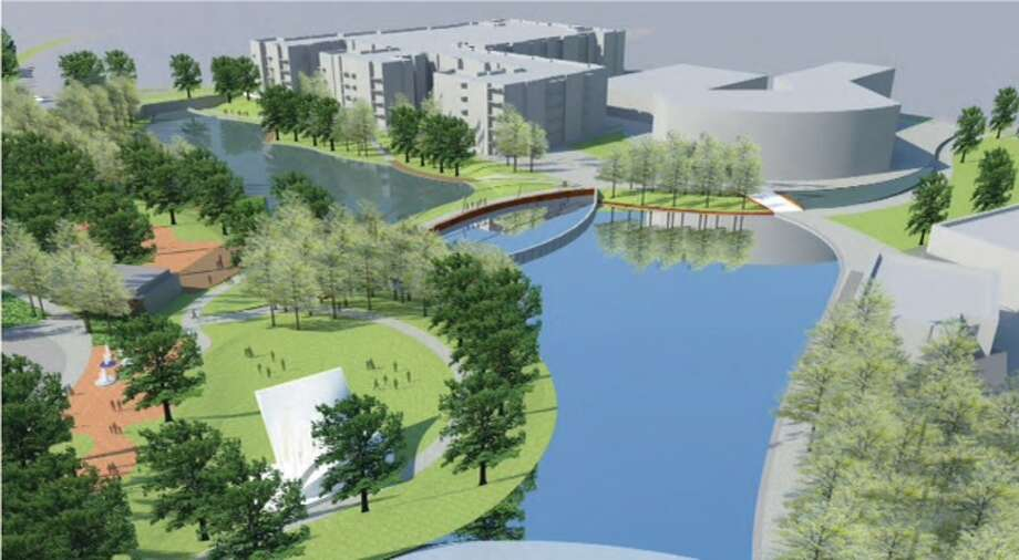 Another rendering of the Town Lake Park corridor. Amenities will include open space with lake features, a small-scale outdoor amphitheater and preserved forest habitat. (CDC Houston)